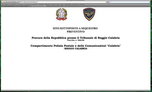 Screenshot sito sequestrato